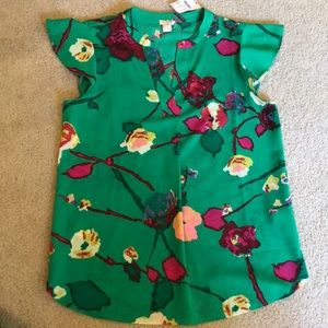 J.Crew Green V Neck Floral Short Sleeve Top NWT 4